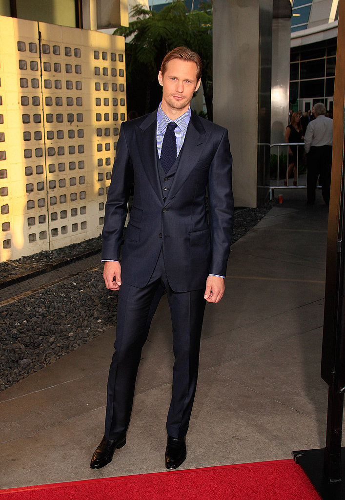 Alexander Skarsgard chose a skinny, shiny suit for the True Blood premiere.