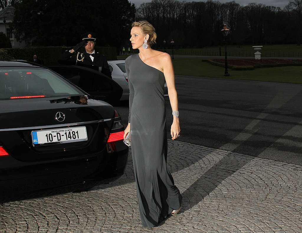 Prince Albert of Monaco's then-fiancée arrived for an official dinner at the presidential palace in Dublin during an April 2011 state visit.  Source: Getty / Valery Hache/AFP