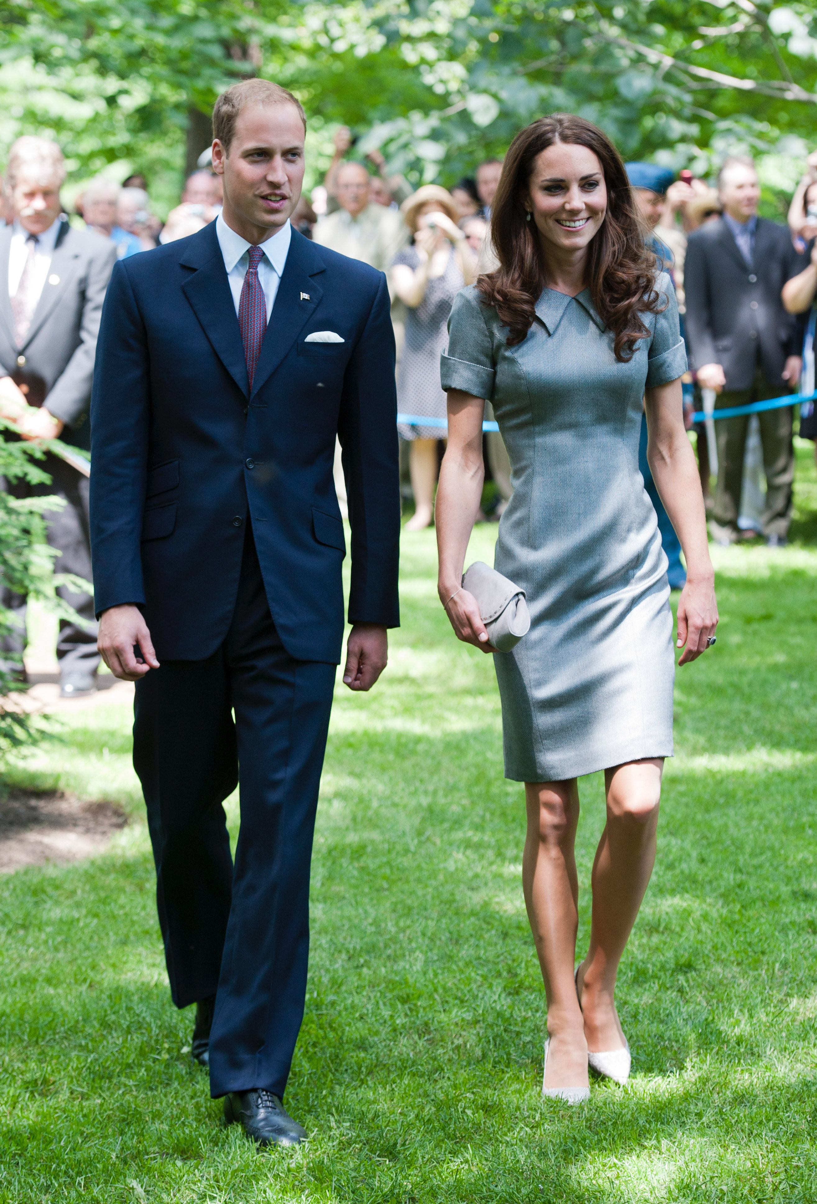 """July 2nd, 2011 Arriving at a tree planting ceremony in Ottawa, Canada.  Kate wears a grey Catherine Walker """"Kensington"""" dress, grey Tabitha Simmons pumps, and a small clutch by Hobbs. Catherine Walker was one of Princess Diana's favorite designers."""