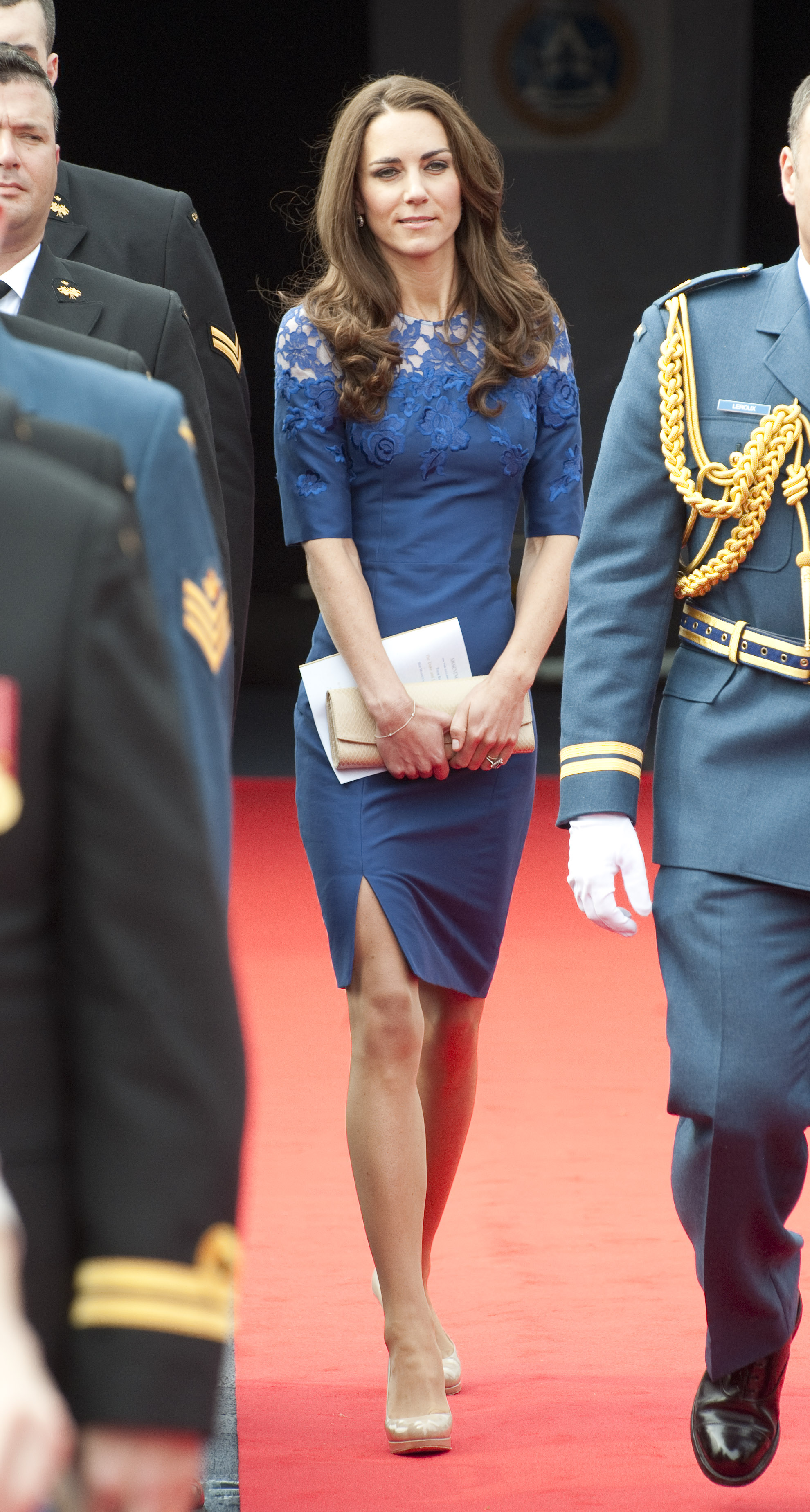 July 3rd, 2011 Attending a morning ceremony aboard the HMCS Montreal in Champlain Harbour in Quebec, Canada.   Kate pairs her Erdem Jacquenta dress with neutral LK Bennet pumps.