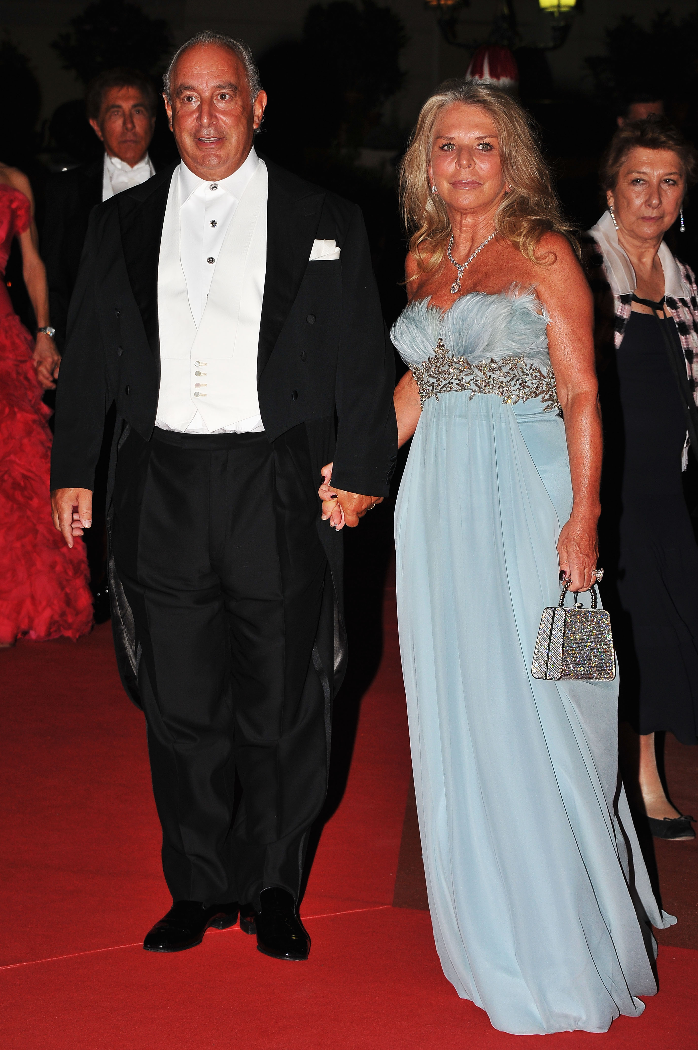 Philip Green and Tina Green attended a dinner at Opera terraces after the religious wedding ceremony of Prince Albert II of Monaco and Princess Charlene of Monaco.