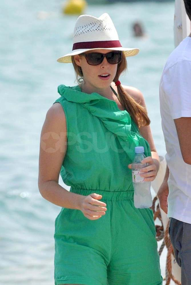 Princess Beatrice in St. Tropez in a green romper.