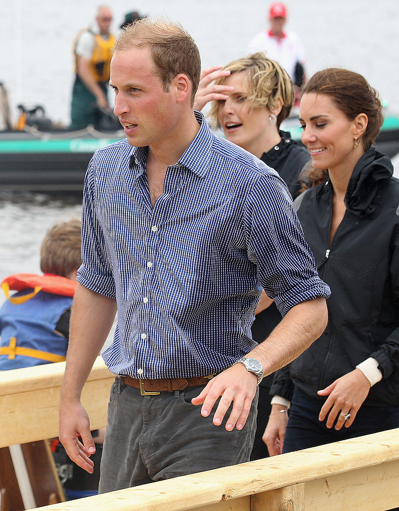 Prince William was a little wet as he and Kate Middleton spent some time on the water.