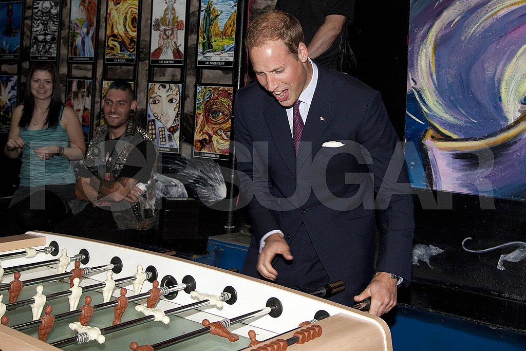 Prince William showed off his foosball skills.