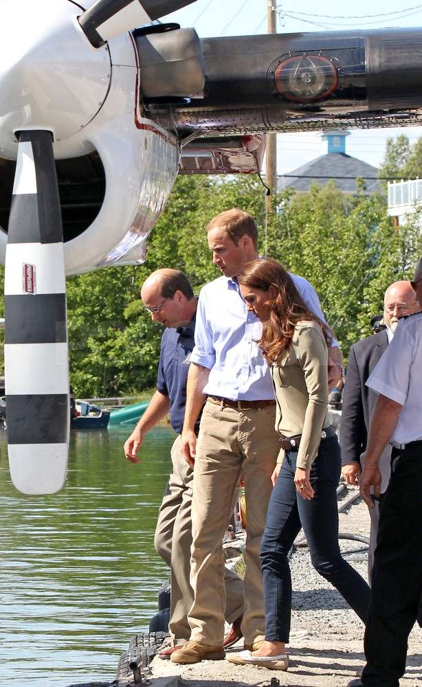 Prince William and Kate Middleton board a seaplane in Canada.
