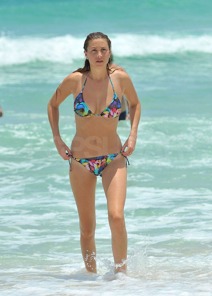 Whitney Port wore a fun two-piece swimsuit.