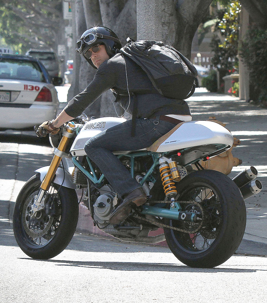 Ryan Reynolds hopped on his custom motorcycle after a meeting in LA. | Ryan Reynolds Braves the ...