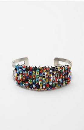 A new and fun twist to the friendship bracelet.  Urban Outfitters Friendship Bracelet Cuff ($24)