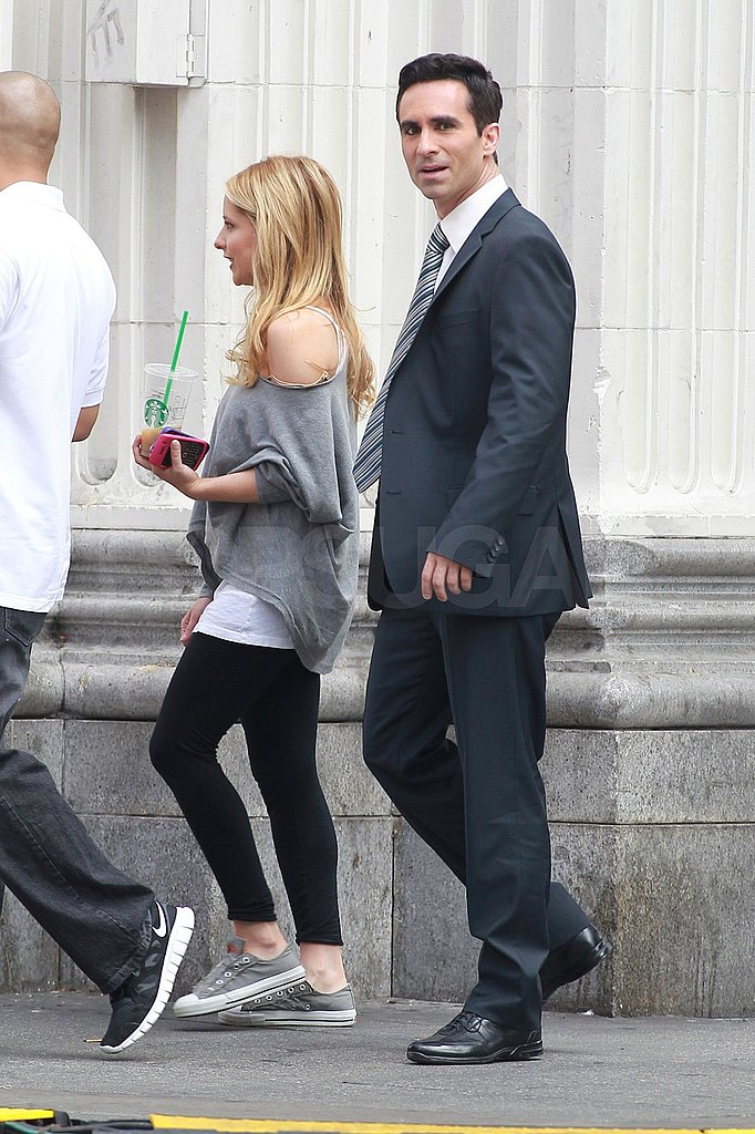 Sarah Michelle Gellar and Nestor Carbonell walked to set in LA today.