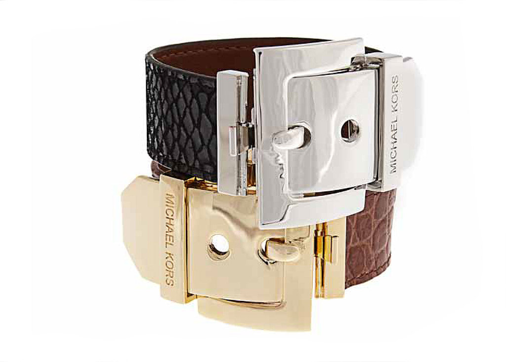 Black Python Embossed Leather Bracelet with Silvertone Buckle Closure or Luggage Croc-Embossed Leather Bracelet with Goldtone Buckle Closure: $175 each