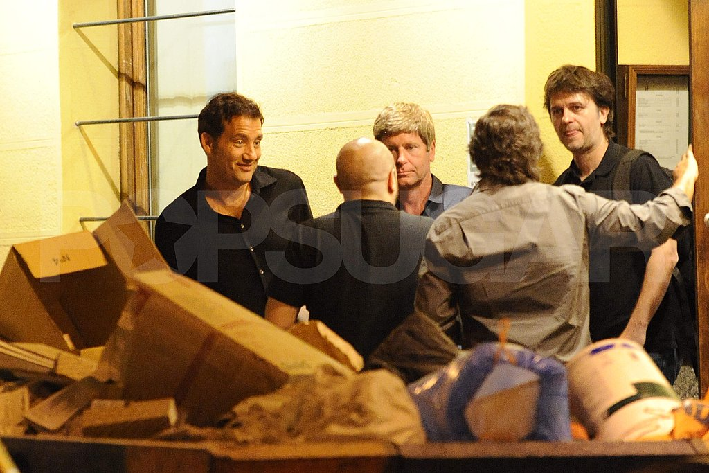 Clive Owen with friends in Spain.