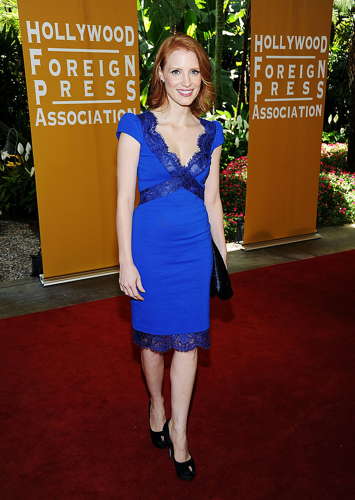 Jessica Chastain went for a bold, blue look.