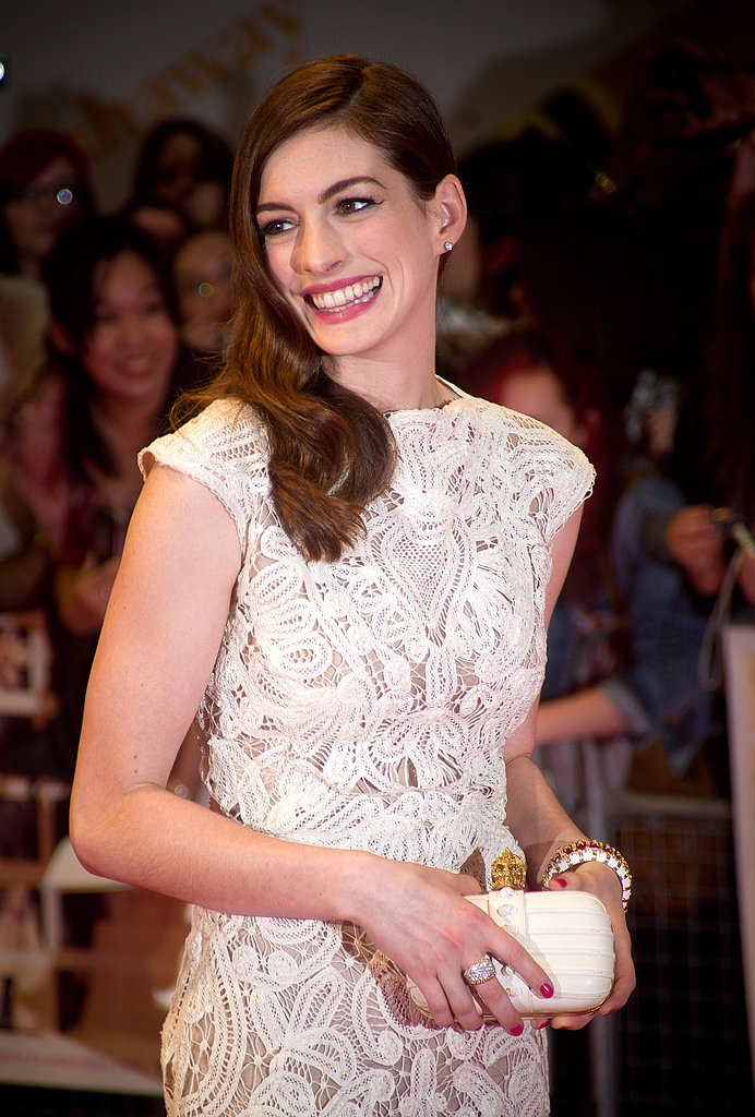 Anne Hathaway wore a lace look at the debut.