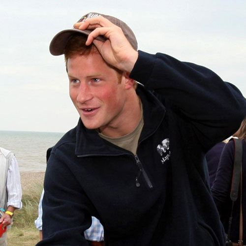 Prince Harry looked happy to take part in today's rowing exhibition.