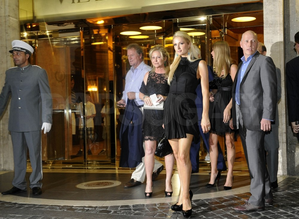 The Hiltons flew to Italy for the wedding ceremony.