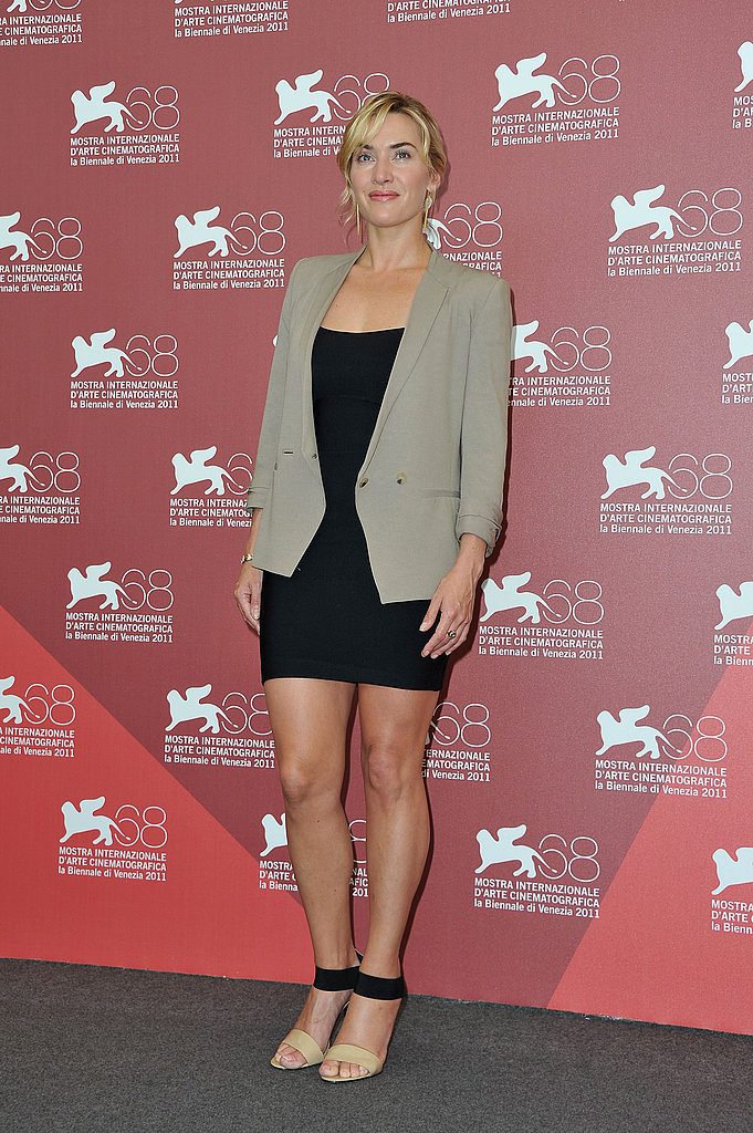 Kate Winslet pairs a sexy LBD with a blazer and two-tone sandals.