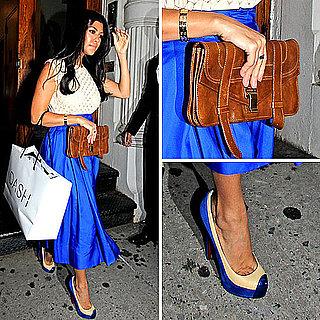 Kourtney Kardashian Wearing a Bright Blue Skirt