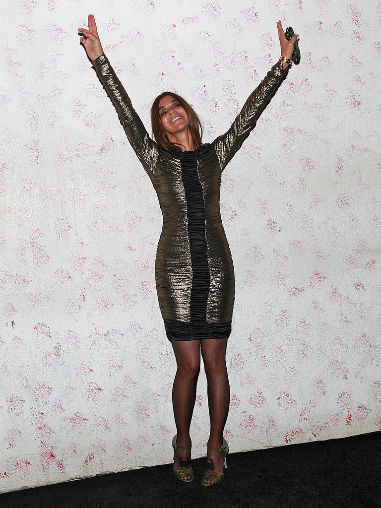 The guest of honor, Carine Roitfeld, let her hair down in a metallic mini dress at Barneys fete.