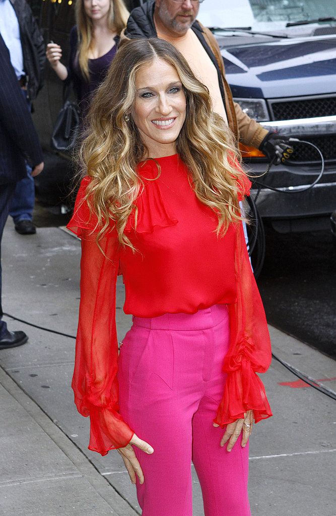 Sarah Jessica Parker in pink and red.