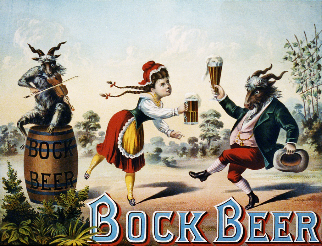 In this 1882 ad, a barmaid enjoys a stein of Bock Beer with her pal — a dressed-up goat.