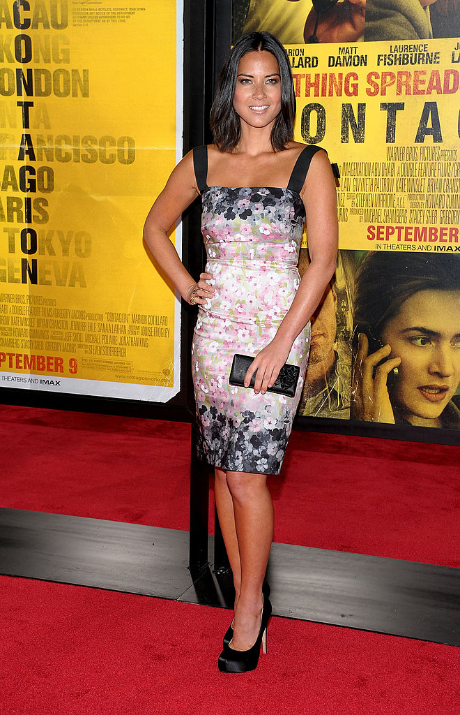 Olivia Munn attended the Contagion premiere in NYC this week looking sleek and girly in a floral-print Valentino dress.