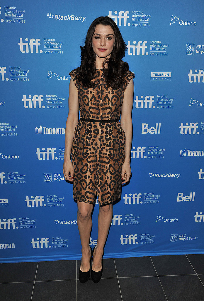Rachel Weisz tamed a fierece print on a fitted sheath at The Deep Blue Sea photo call.