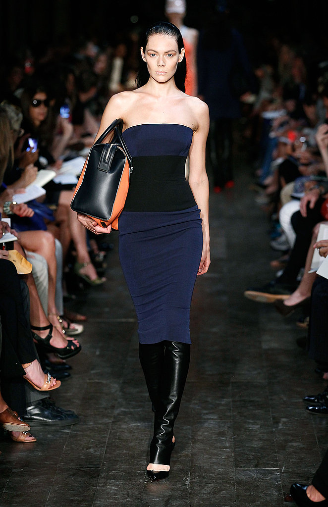 Victoria Beckham delivered figure-flaunting silhouettes.