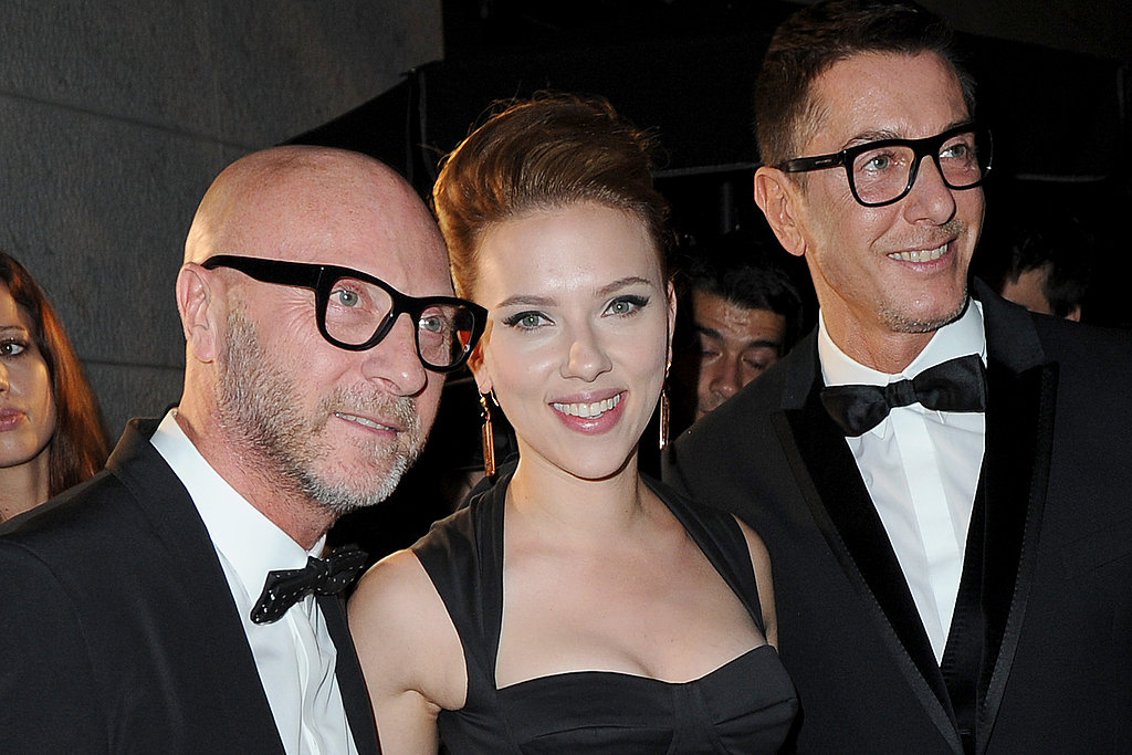 Scarlett posed with the designers before dining at their namesake restaurant.