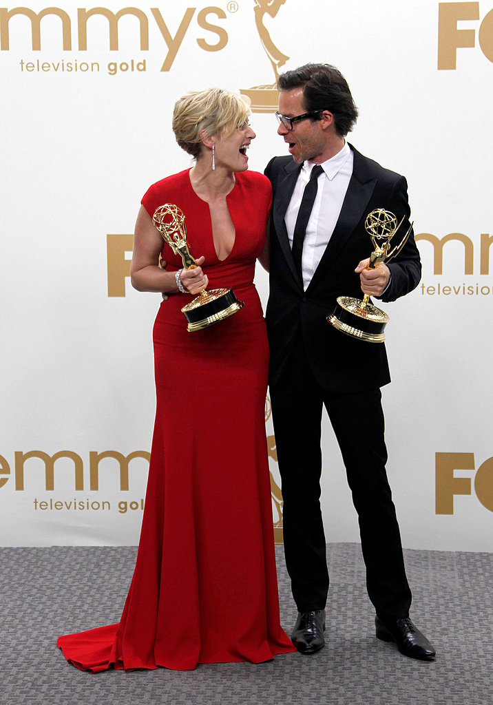 Kate Winslet and Guy Pearce with their Emmys.