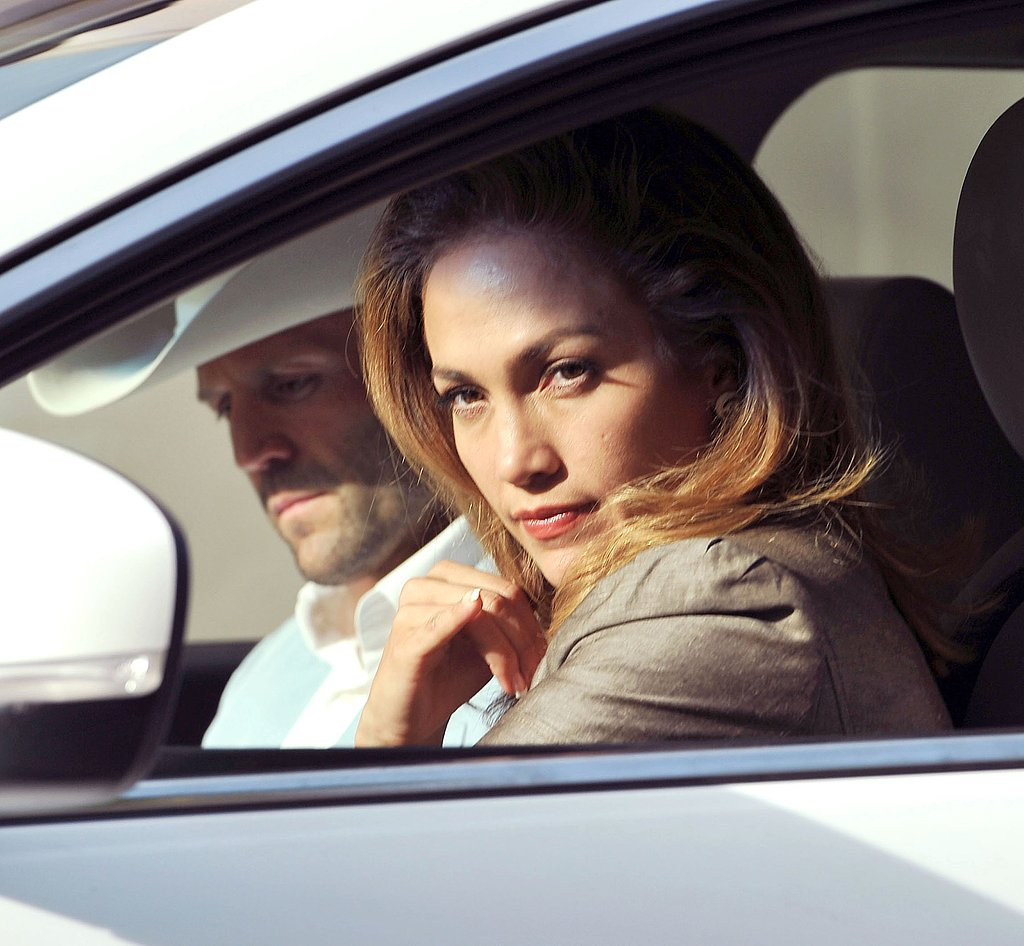 Jennifer Lopez looked sultry during a car scene with Jason Statham.