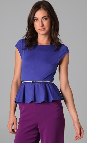 If the rest of your outfit is ultra basic, add a gorgeous peplum top to add shape to your waist, and a feminine touch. Alice & Olivia Ella Peplum Tee ($187)