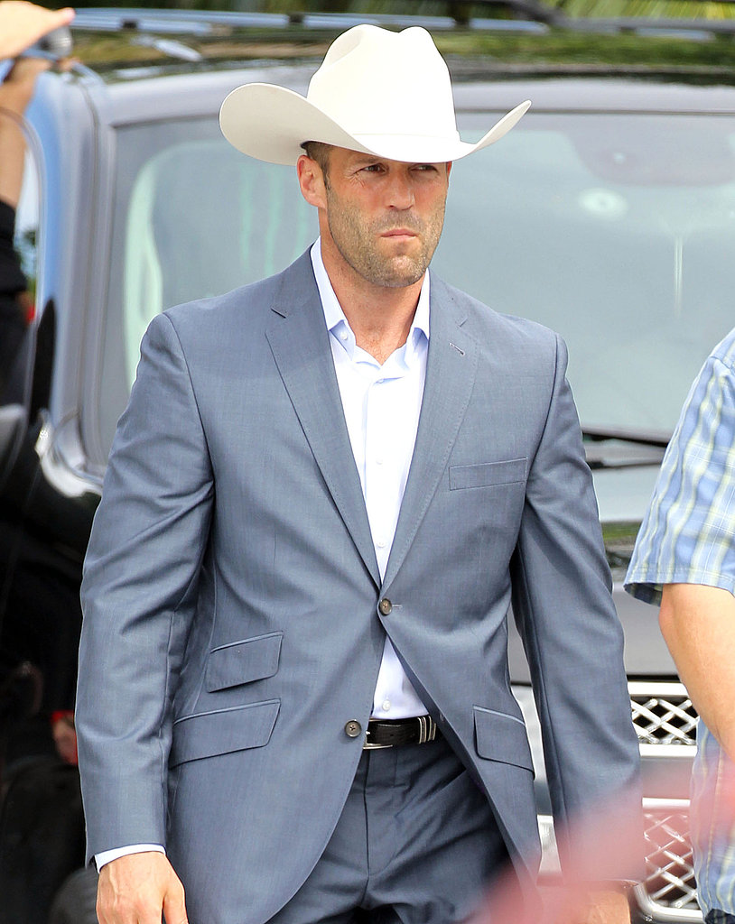 Jason's character wears a large white cowboy hat throughout the film.