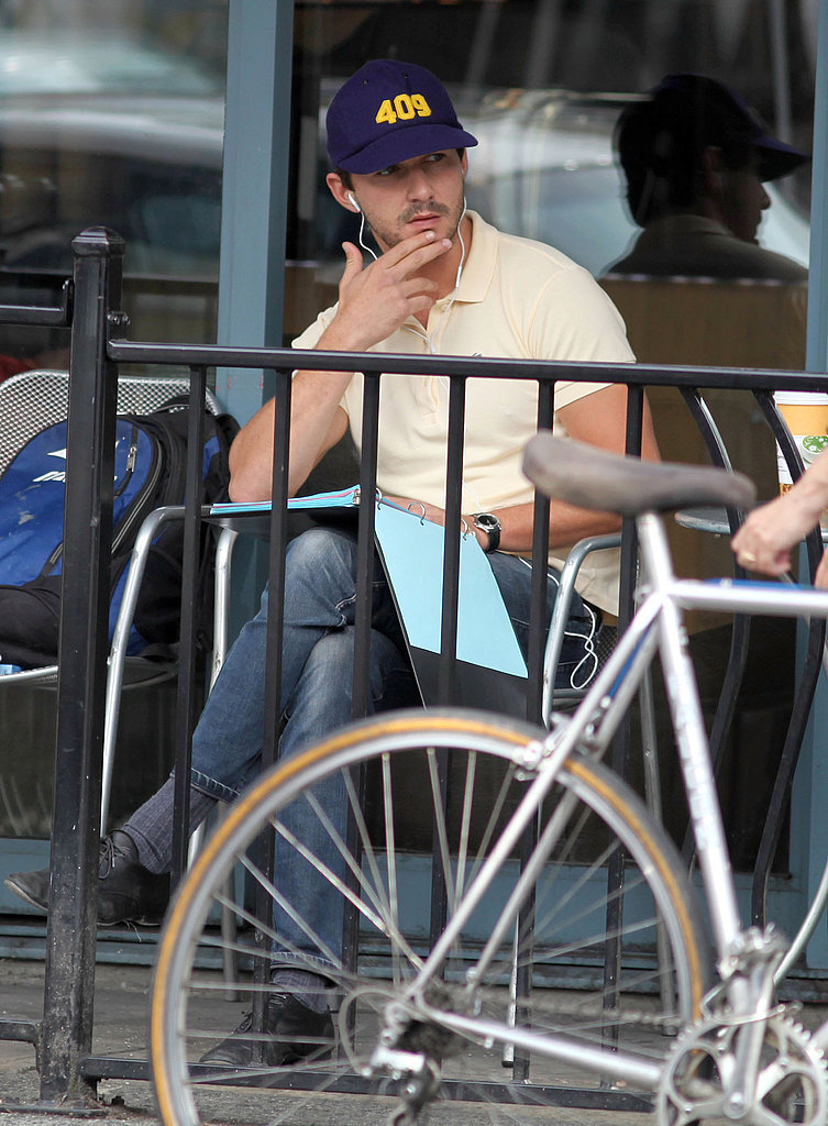 Shia read over his script at a Toronto coffee shop.
