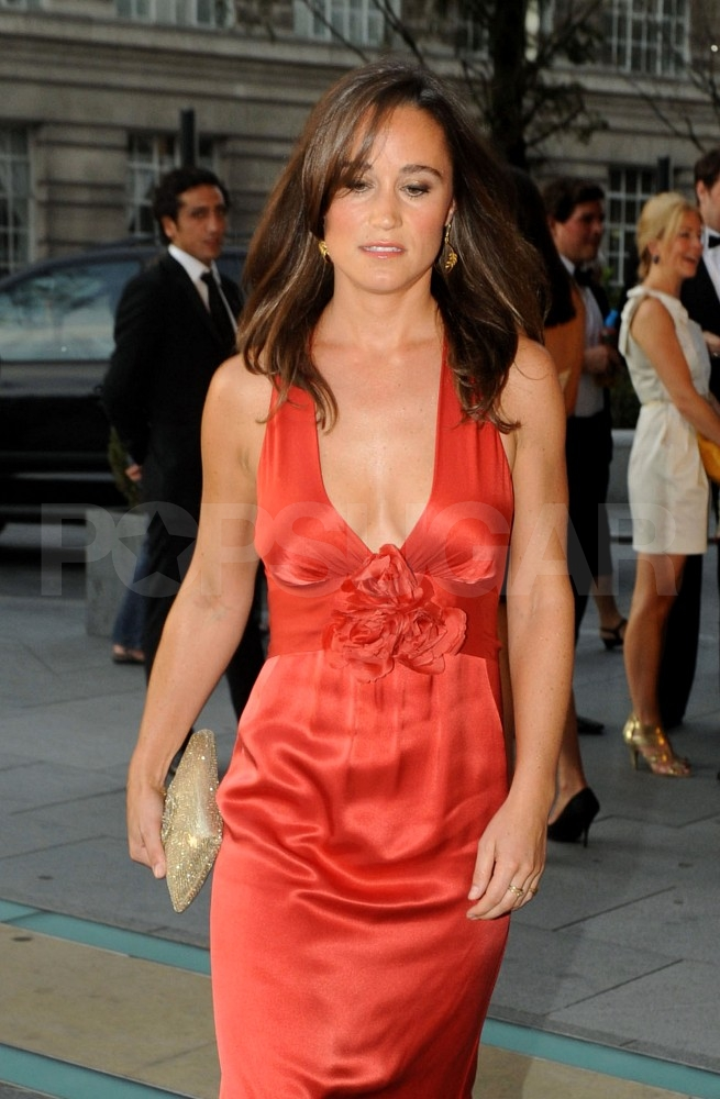Pippa Middleton in a red gown.