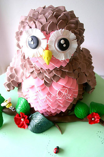 Pink and Brown Owl Cake