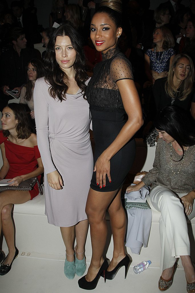 Jessica Biel and Ciara struck at pose at Valentino.