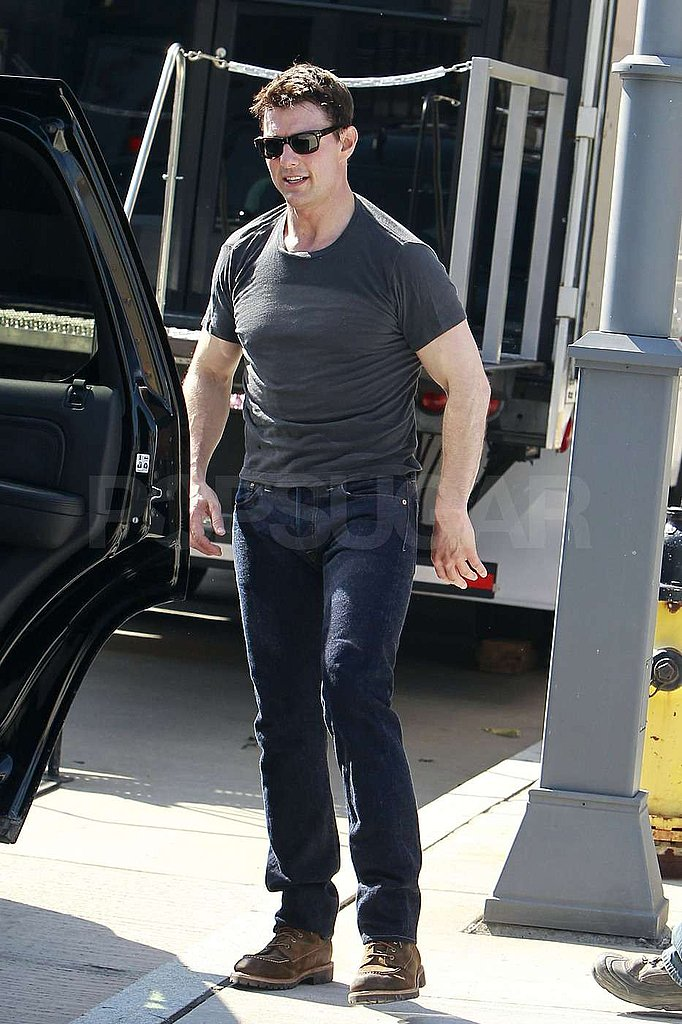 Tom Cruise showed off his shorter haircut.