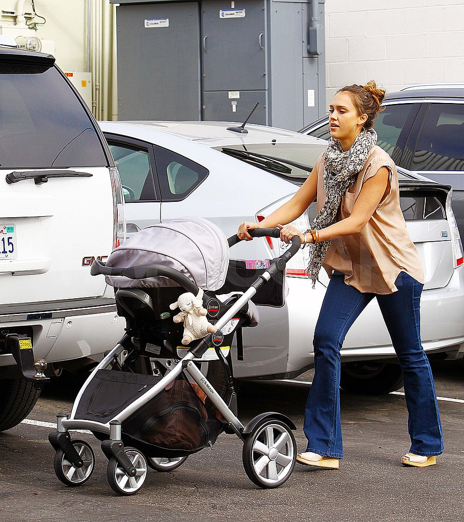 Jessica Alba pushes Haven in a stroller.