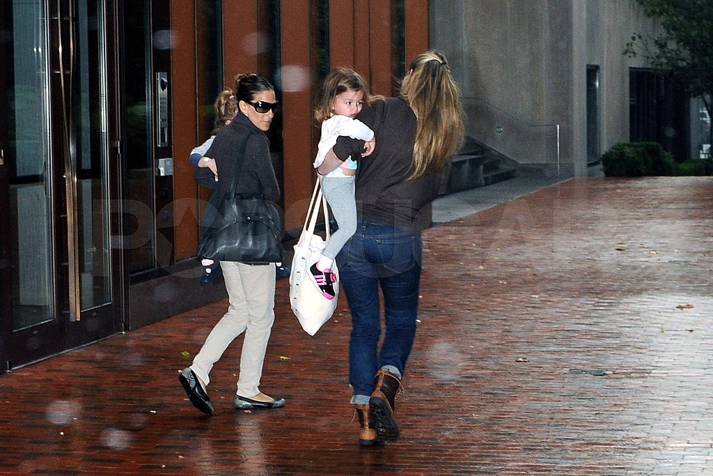 SJP took twins Tabitha and Marion to school in NYC.