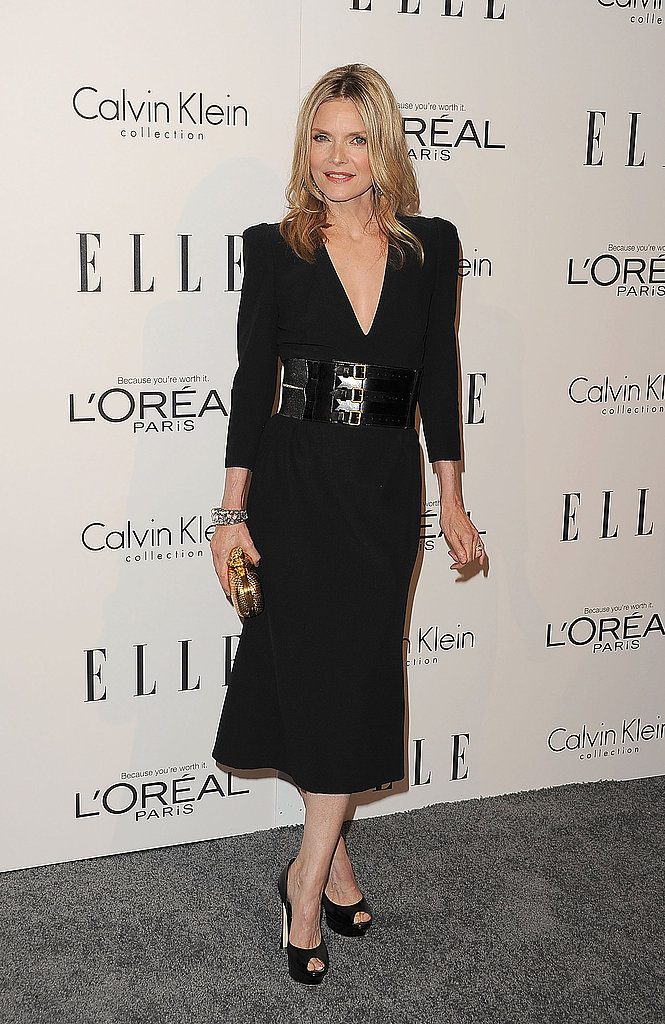 Michelle Pfeiffer in an all-black ensemble in NYC.