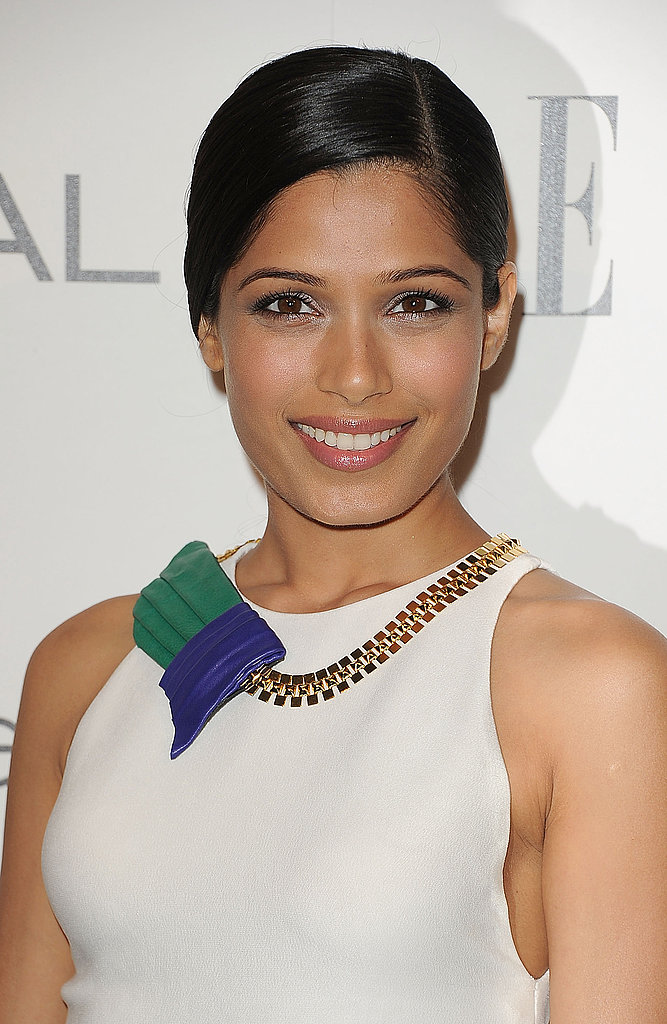 Freida Pinto in a bold necklace.