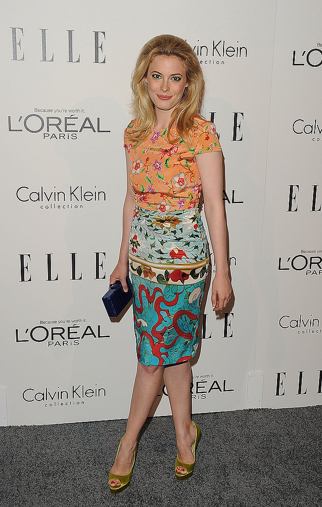 Gillian Jacobs in a printed dress.