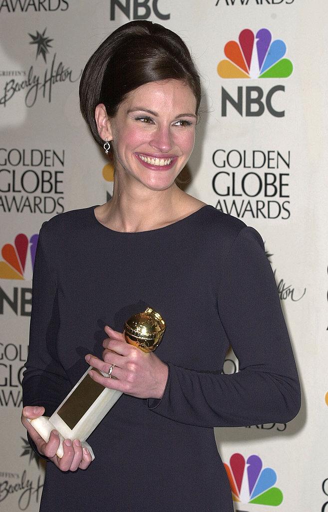 Julia showed her megawatt smile after winning a Golden Globe in 2001.