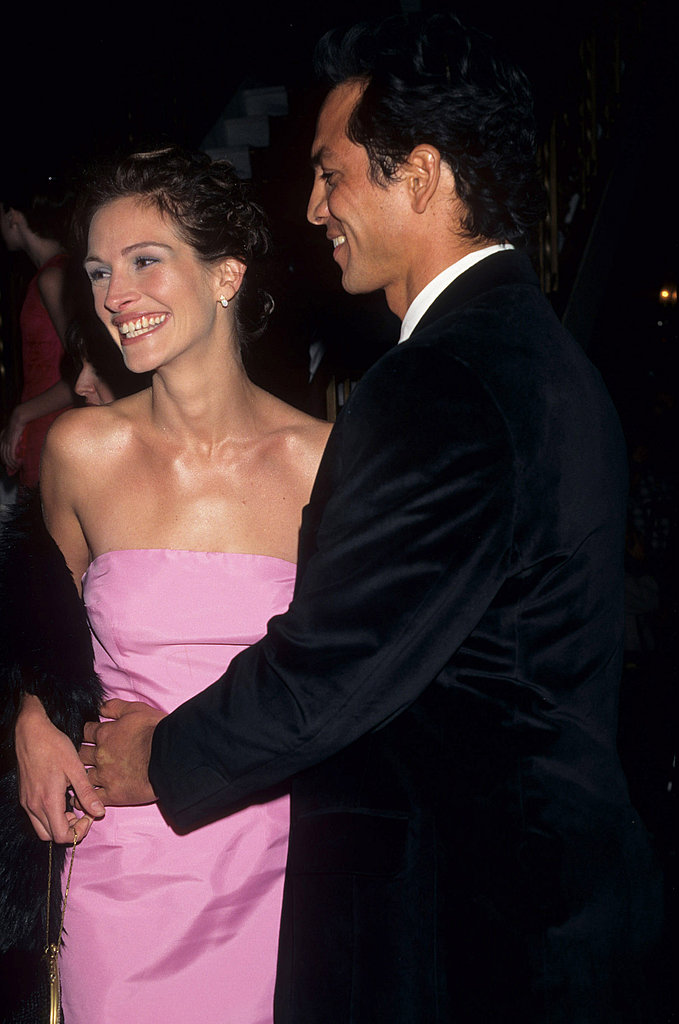 She smiled in a bubblegum-pink dress at the premiere of Stepmom in 1998 with then-boyfriend Benjamin Bratt.