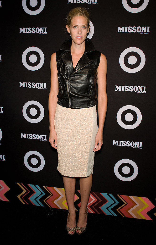 Byrdie Bell transformed a ladylike pencil skirt with a cool leather vest.