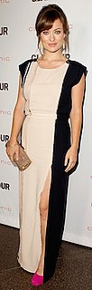 Olivia Wilde in J Mendel Dress, Fuchsia Brian Atwood Pumps