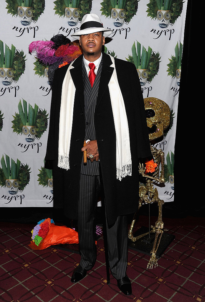 NBA star Carmelo Anthony got into gangster gear for Bette Midler's 2011 Halloween bash at the Waldorf-Astoria.