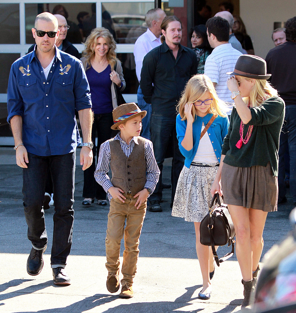 Reese Witherspoon left church with Jim Toth, Deacon Phillippe, Ava Phillippe.