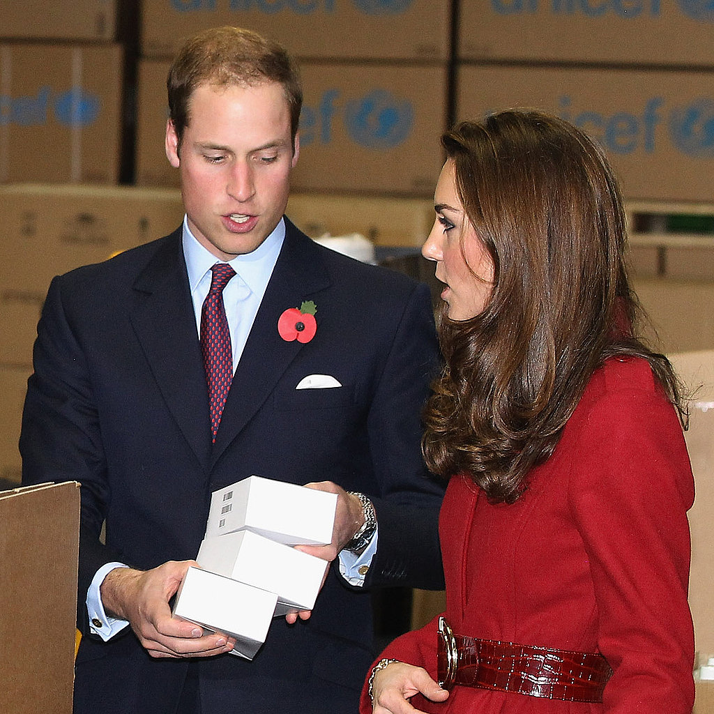 Kate Middleton and Prince William took inventory of the emergency supplies at a UNICEF center in Copenhagen.