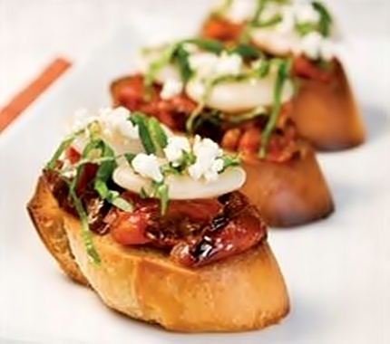 Bruschetta with Lima Beans & Roasted Tomatoes